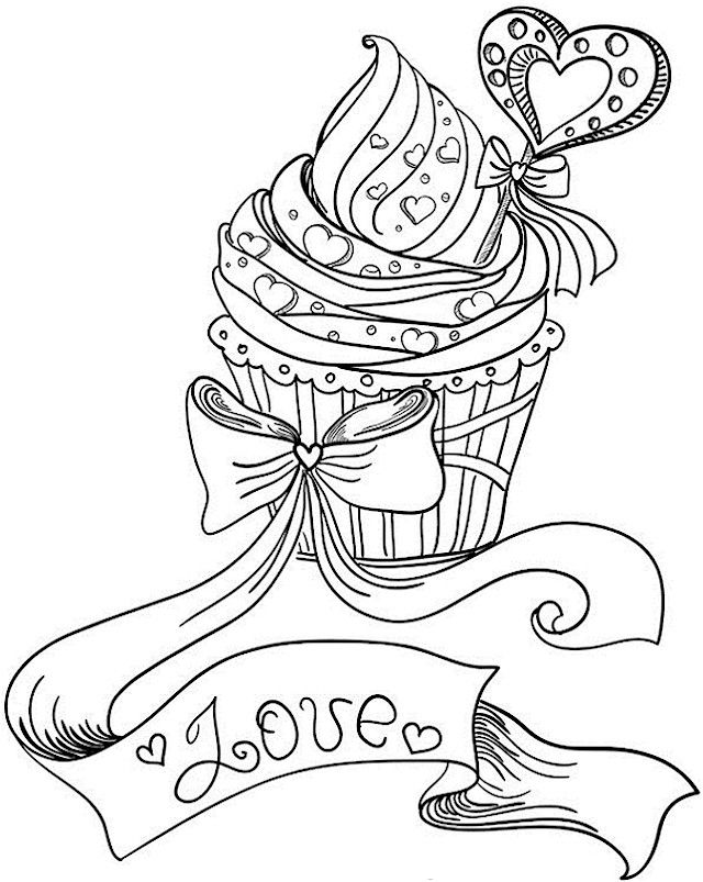Valentines Day Love Cupcake Coloring Page For Adults