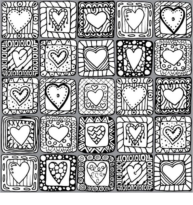 Valentines Day Mosiac Coloring Pages For Adults
