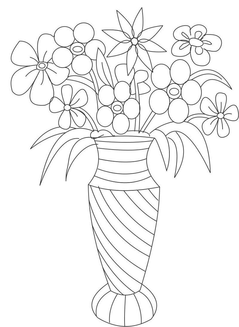 Vase And Flower Template Coloring 001