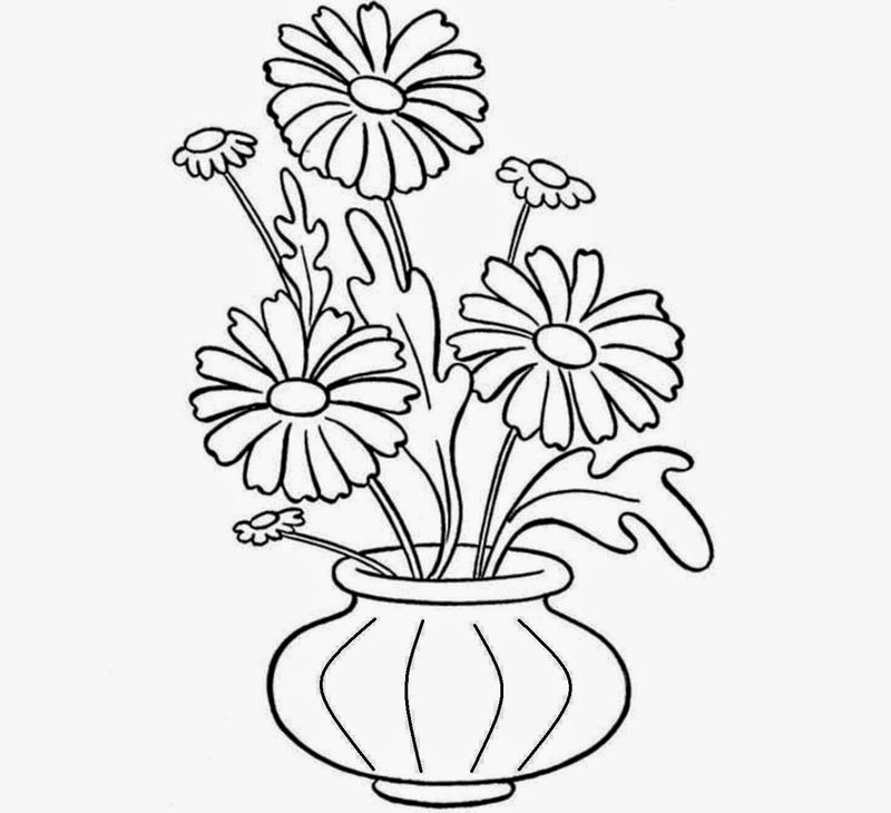 Vase And Flower Template Drawing 001