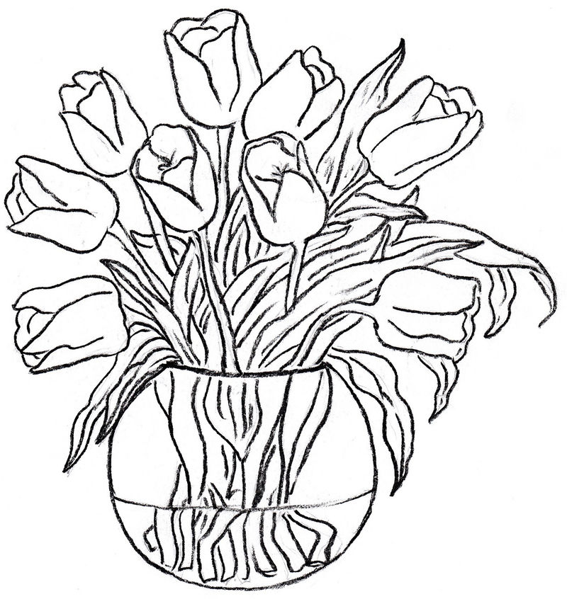 Vase And Flower Template Patterns 001