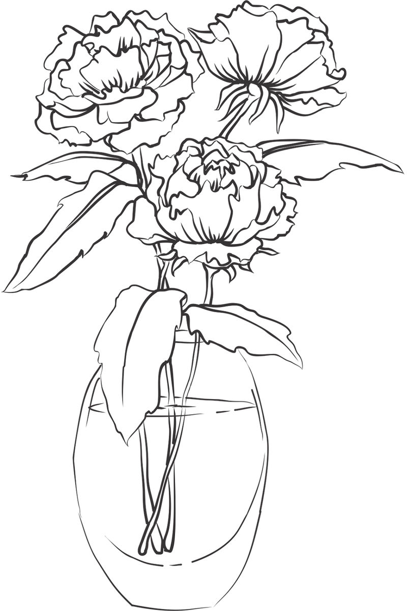 Vase And Flower Template Rose 001