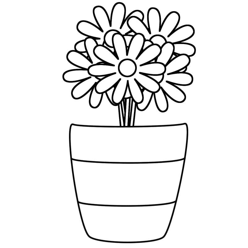 Vase And Flower Template Simple 001