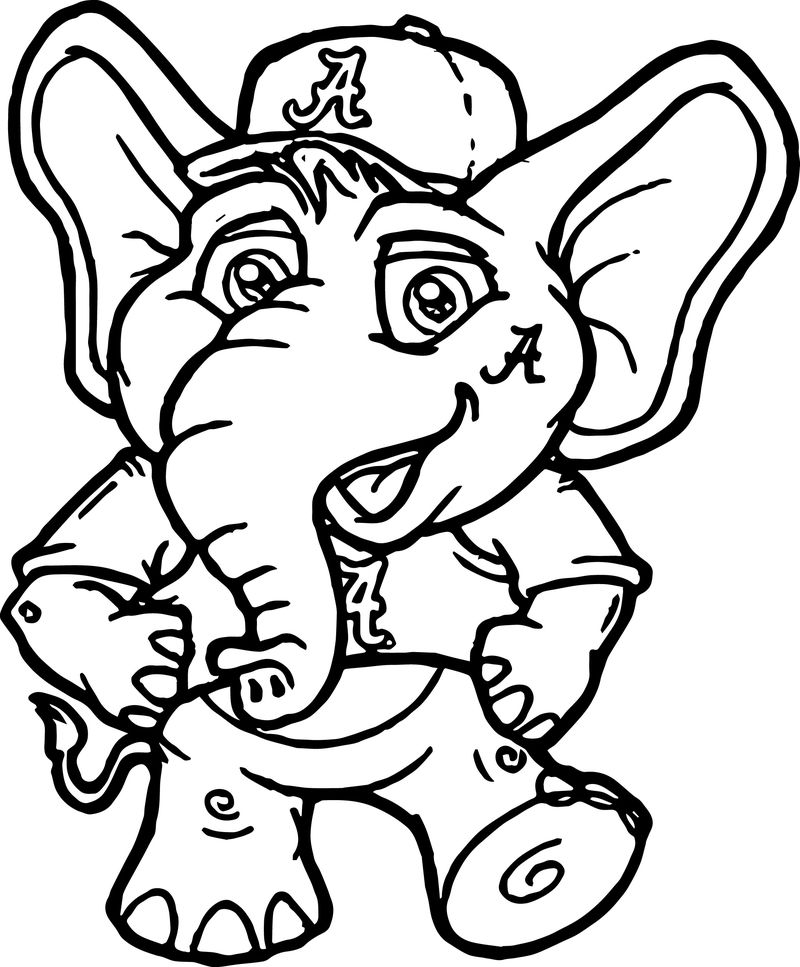 Very Cute Perfect Alabama Crimson Tide Elephant Coloring Page