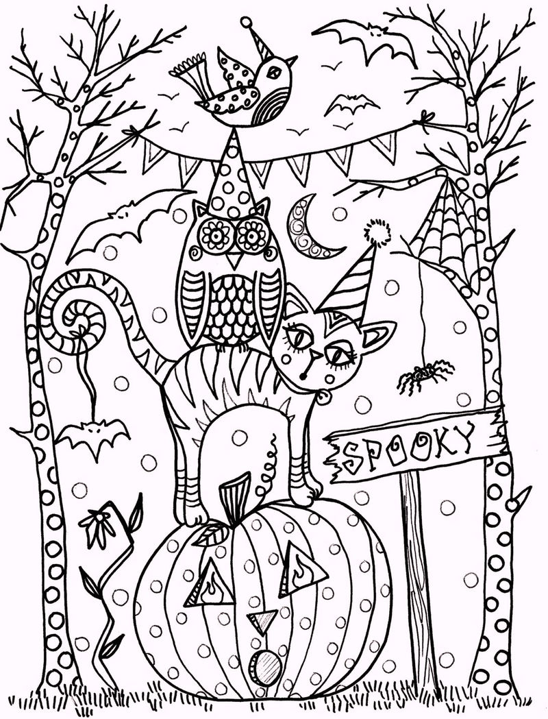 Vintage Artistic Halloween Coloring Pages