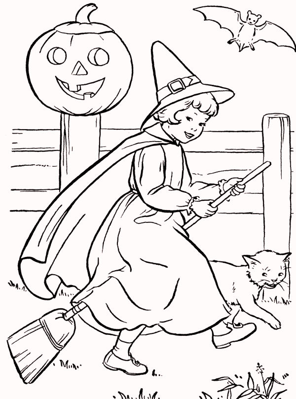 Vintage Halloween Coloring Pages
