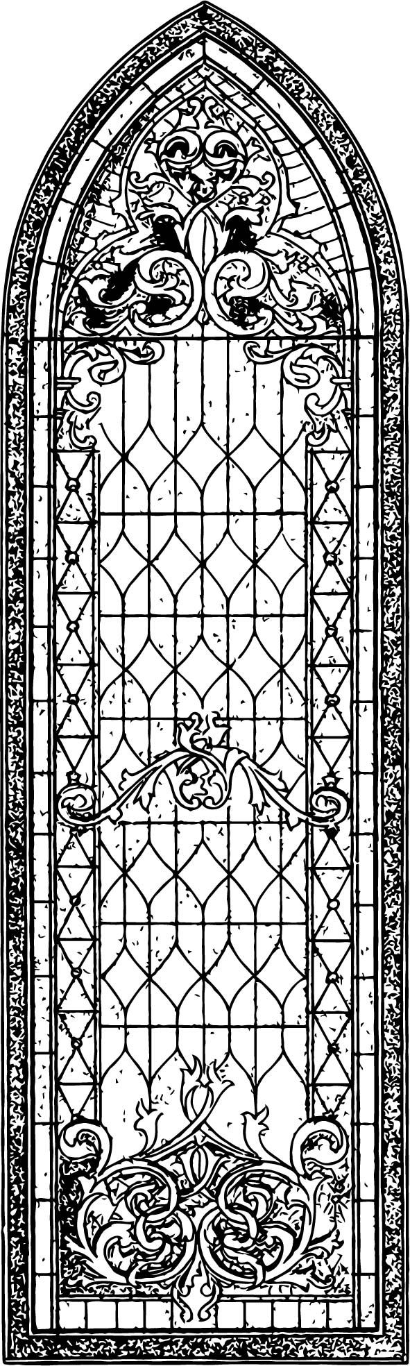 Vintage Stained Glass Church Window Graphics Fairy Coloring Page