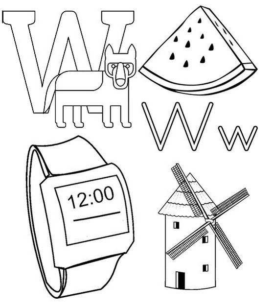W For Wolf Watermelon Watch And Windmill Coloring Page