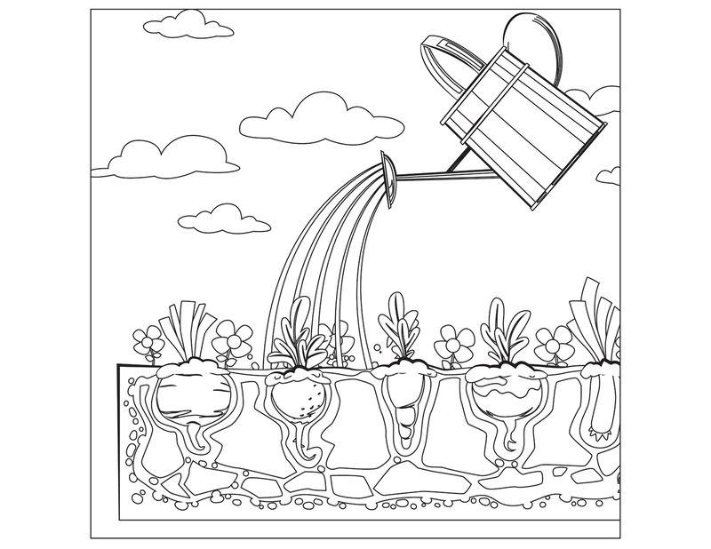 Watering Can Vegetable Garden Coloring Page
