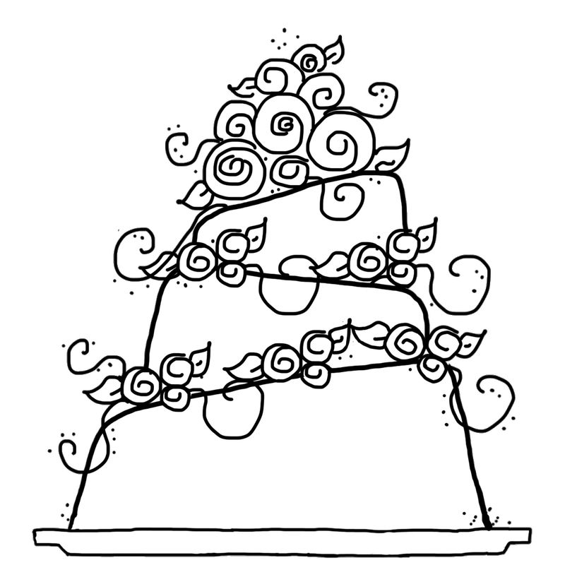 Wedding Cake Clipart To Color