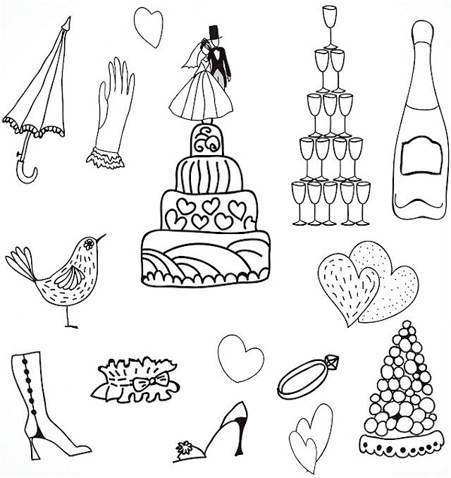 Wedding Doodles Coloring Page