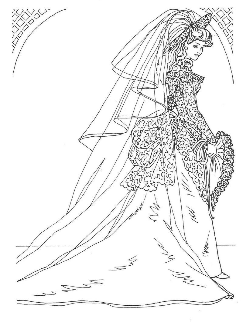 Wedding Dress Printable Coloring Pages