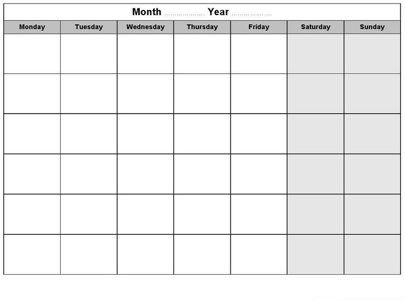 Weekly Blank Calendar With Month And Year