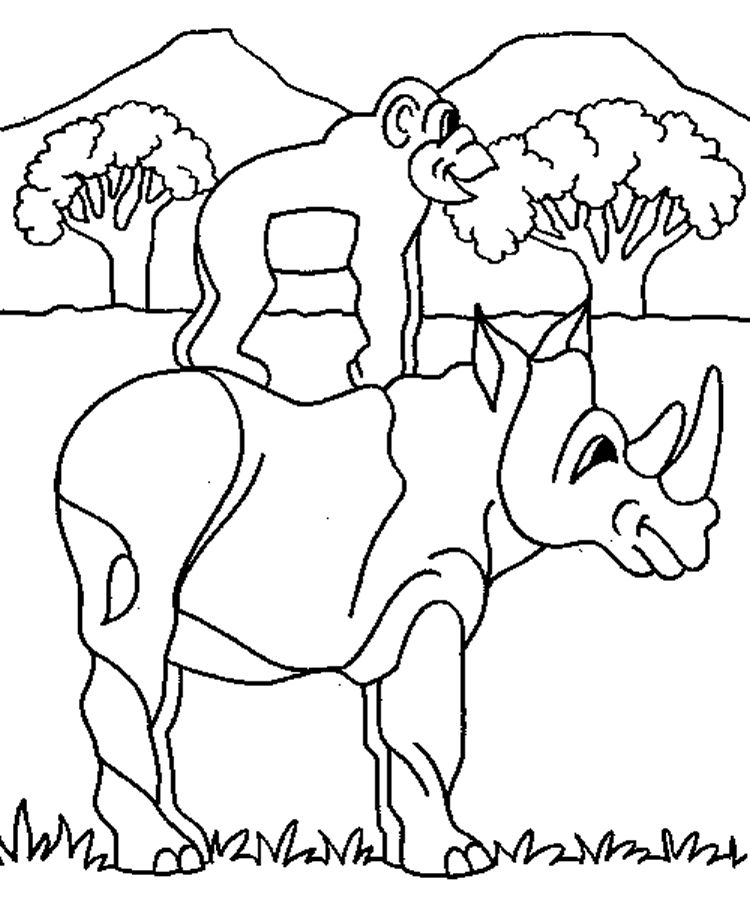 Wild Animal Coloring Pages Rhino And Monkey