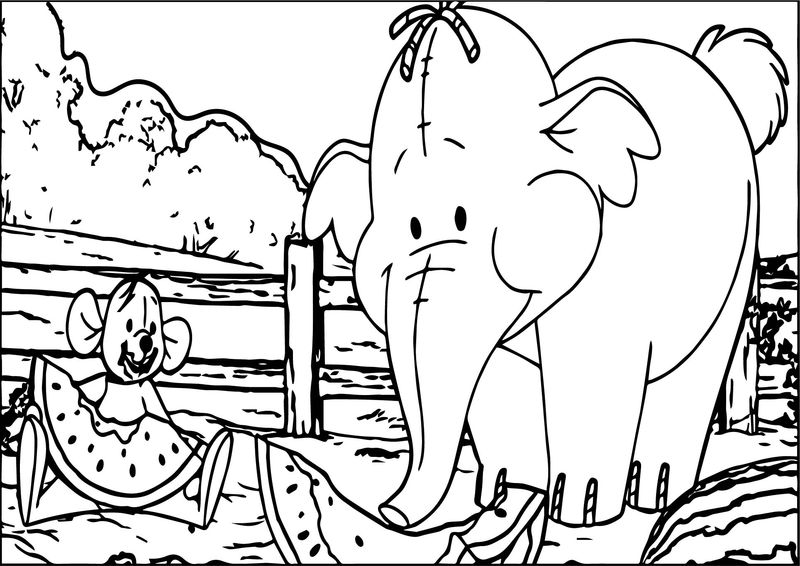 Winnie The Pooh Elephant Mouse Coloring Page