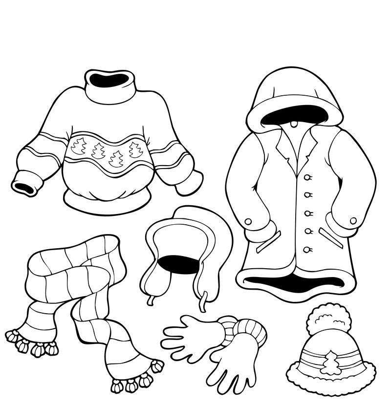 Winter Clothes Coloring Pages