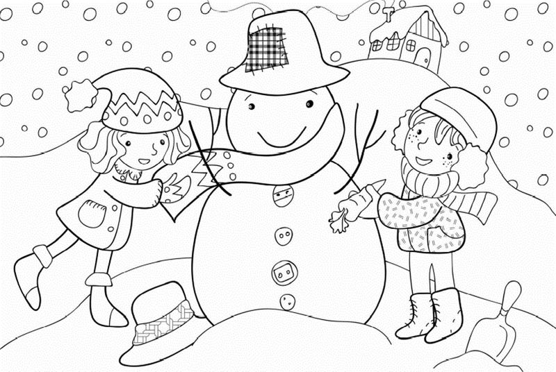 Winter Coloring Page For Kindergarten