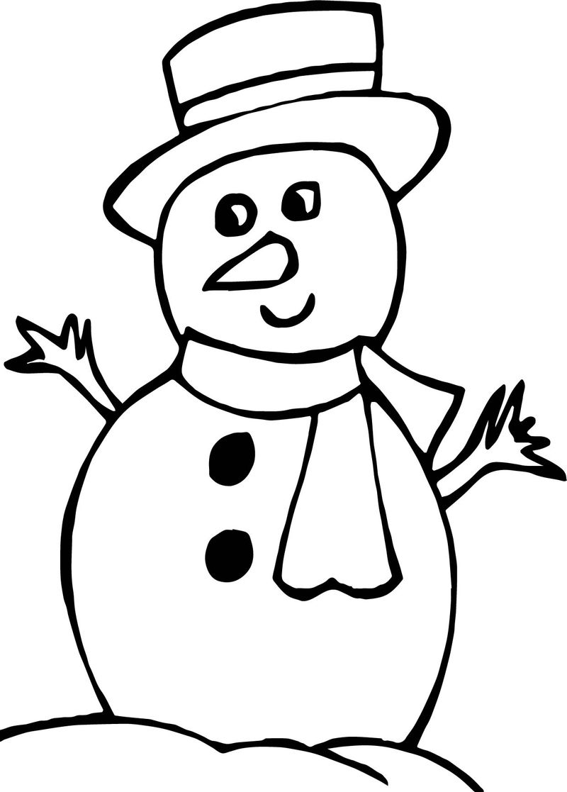 Winter Looking Snowman Coloring Page