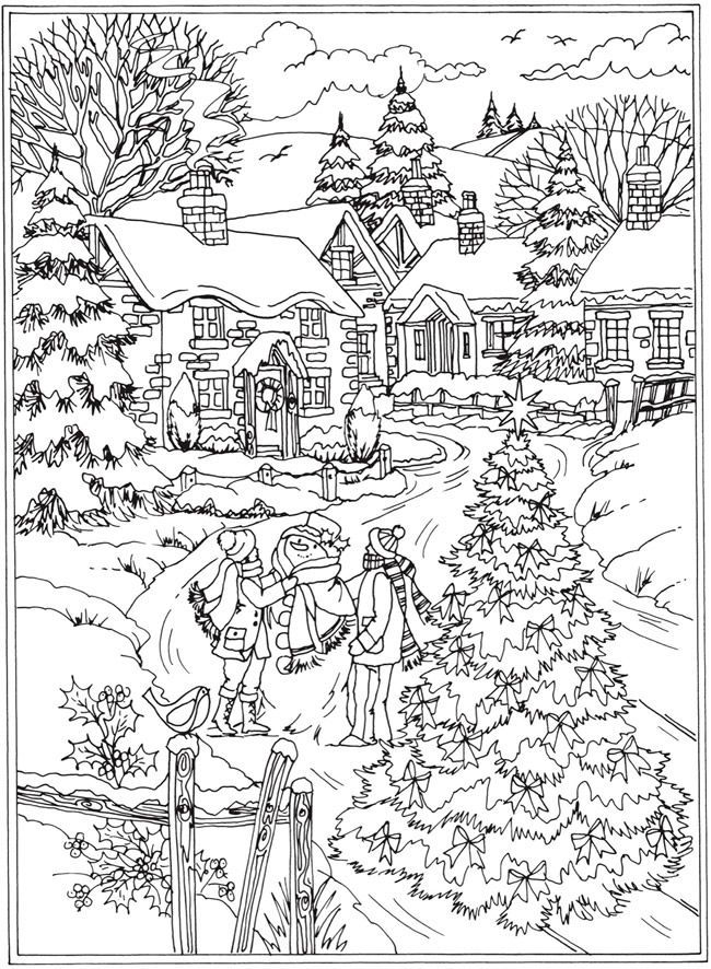 Winter Scene Coloring Page 1