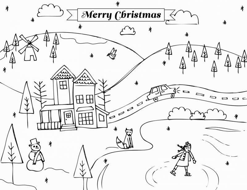 Winter Scene December Coloring Pages