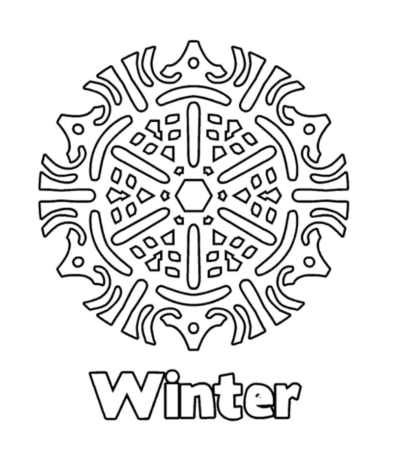 Winter Snowflake Design Coloring Page