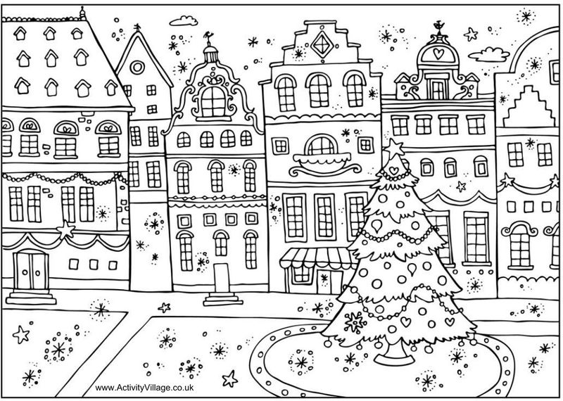 Winter Town Scene Coloring Page