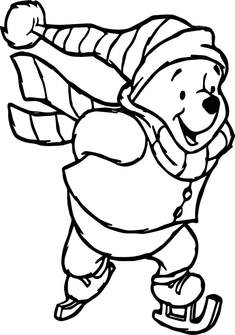Winter Winnie The Pooh Slide Coloring Page