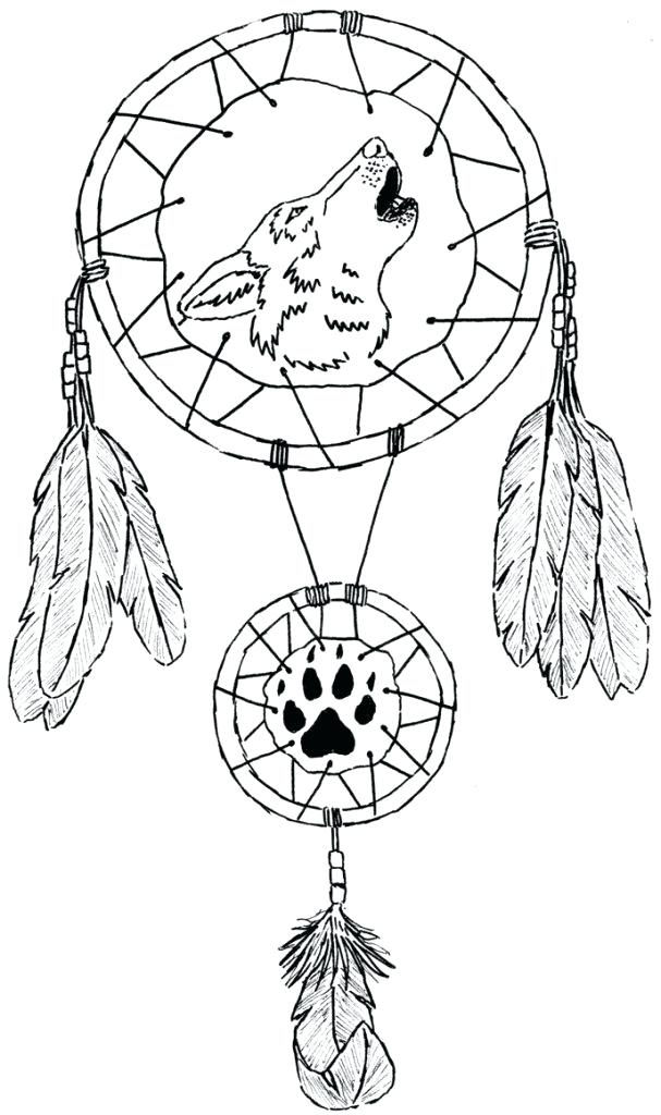 Wolf Dream Catcher Coloring Pages