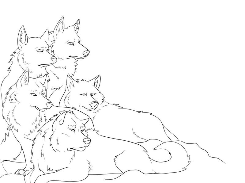 Wolf Family Coloring Page