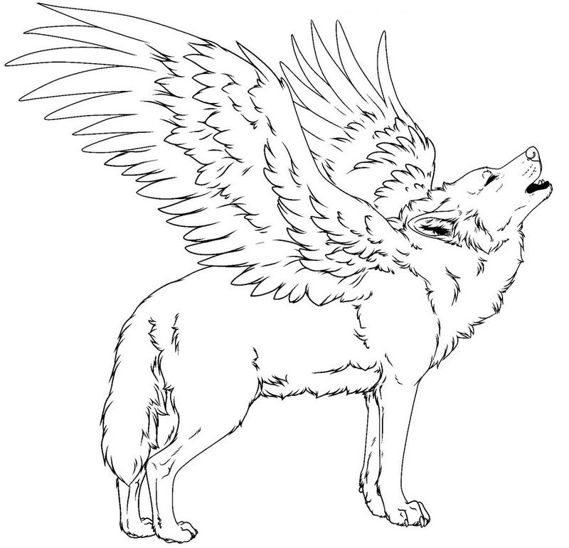 Wolf With Wings Coloring Pages Free