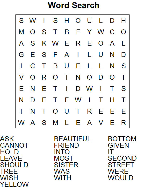 Word Puzzle Worksheets Easy
