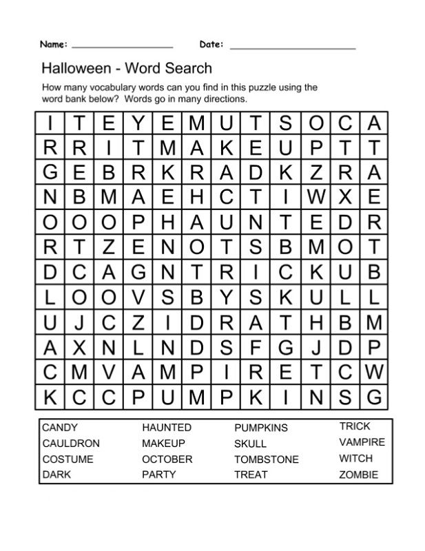 Word Puzzle Worksheets Halloween