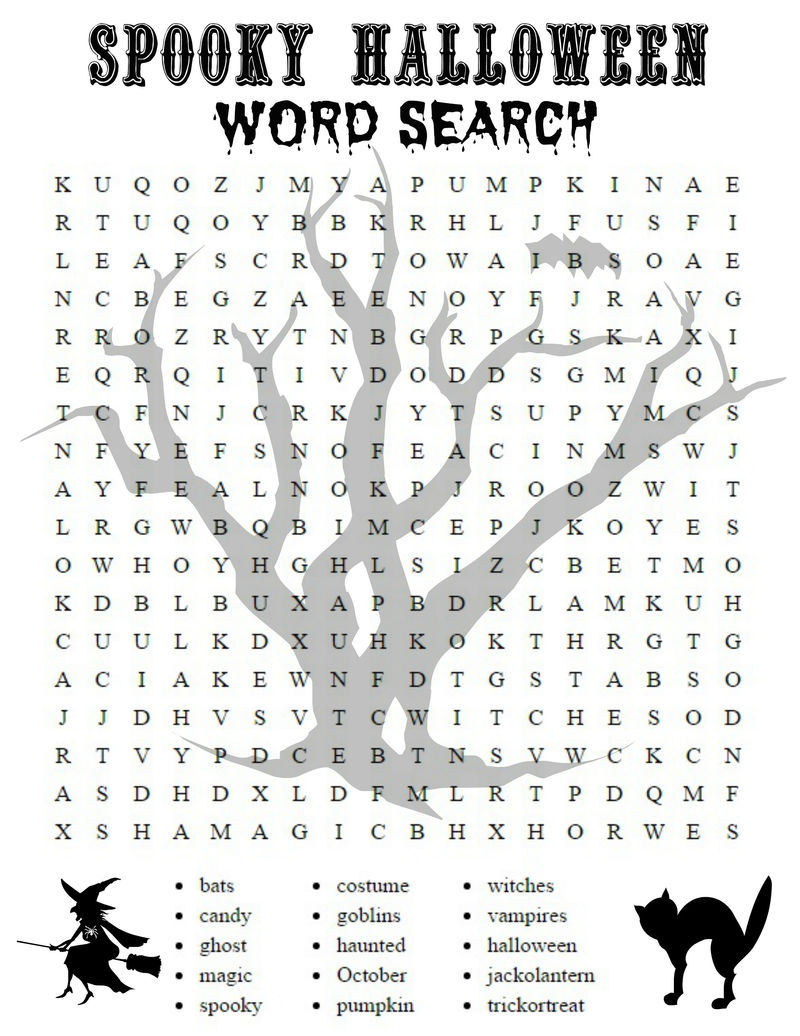 Word Puzzle Worksheets Spooky