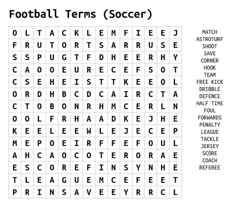 Word Search Football Terms