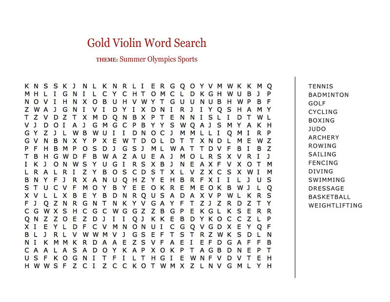 Word Search Sports Summer
