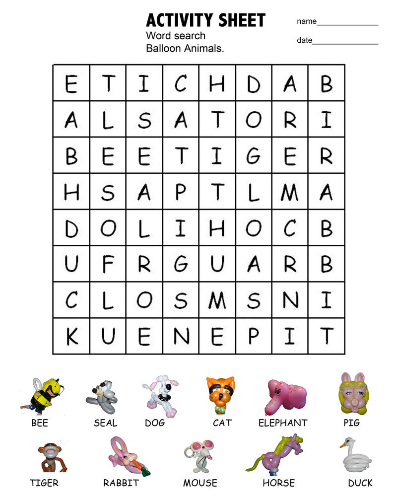 Wordsearches For Kids Animal