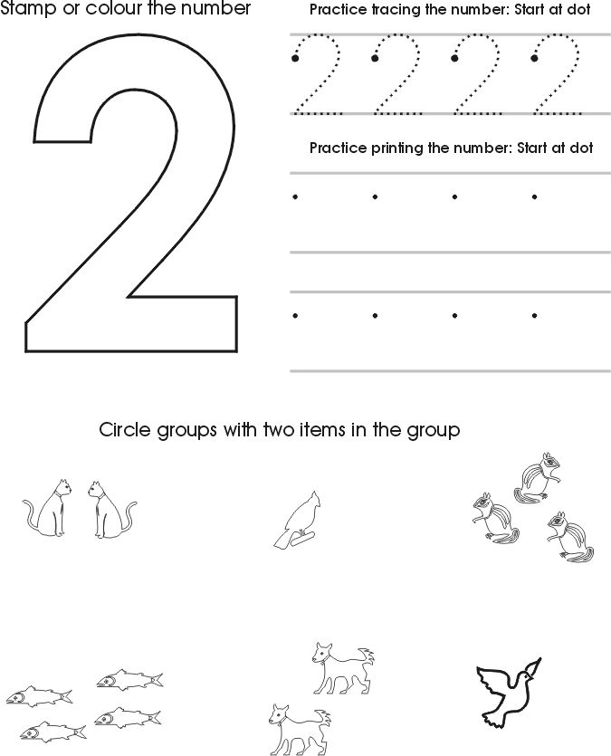 Worksheets For 2 Years Old Numbers 001