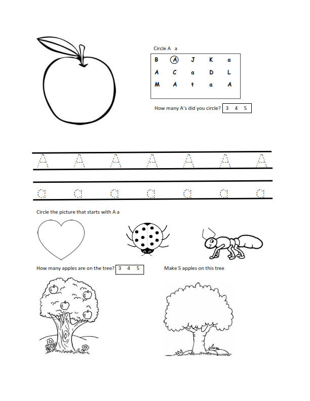 Worksheets For 3 Year Olds A 001