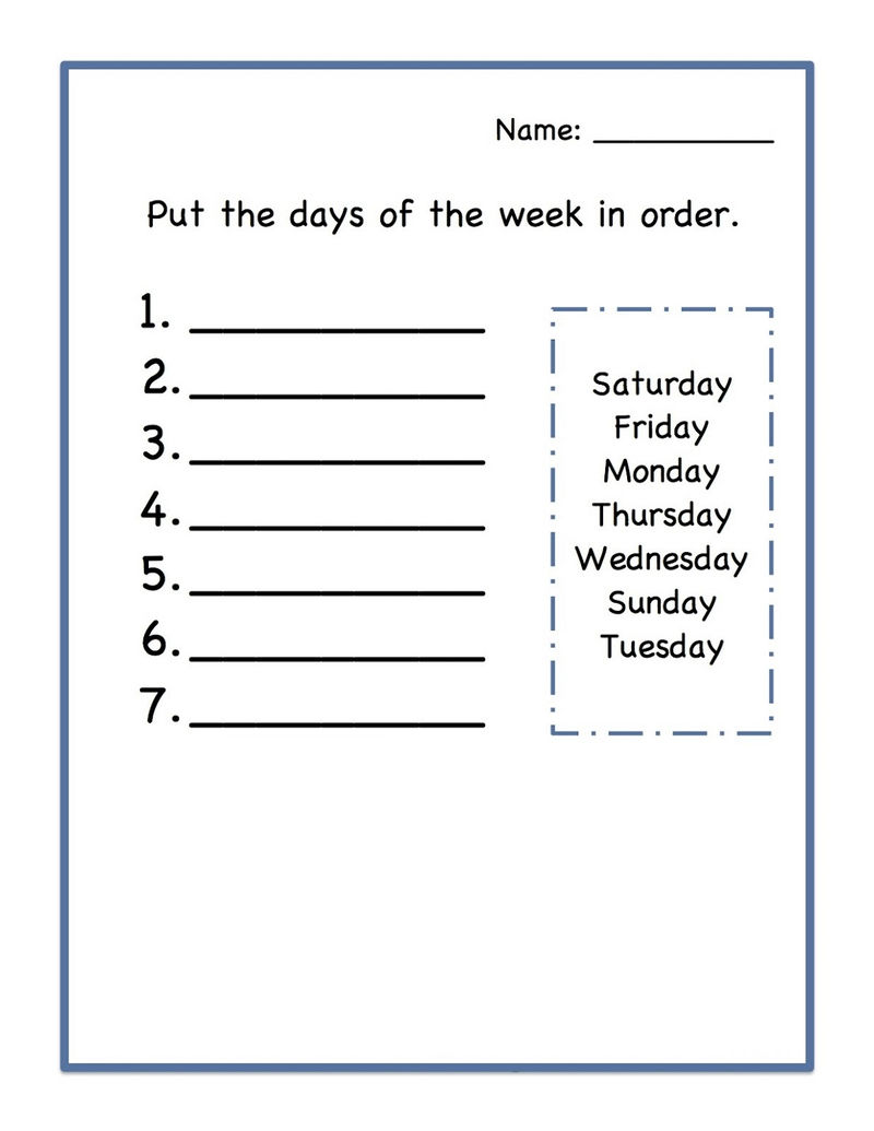 Worksheets For Days Of The Week Printable