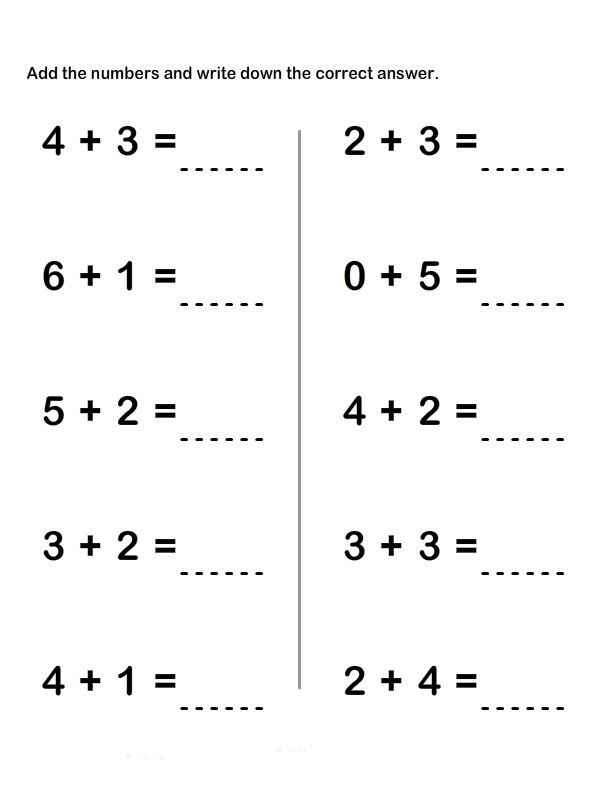 Worksheets In Addition For Grade 1