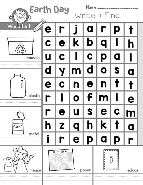 Write And Find Earth Day Word Search