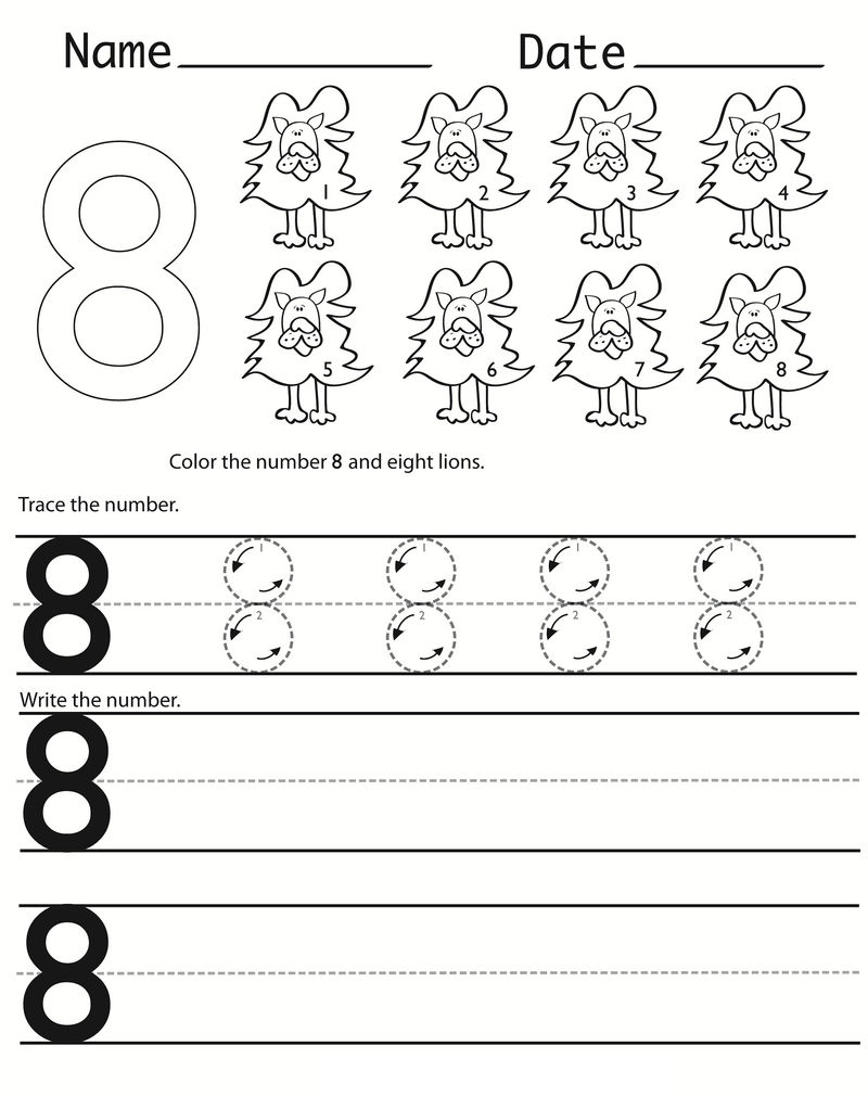 Writing Numbers Worksheets Eight