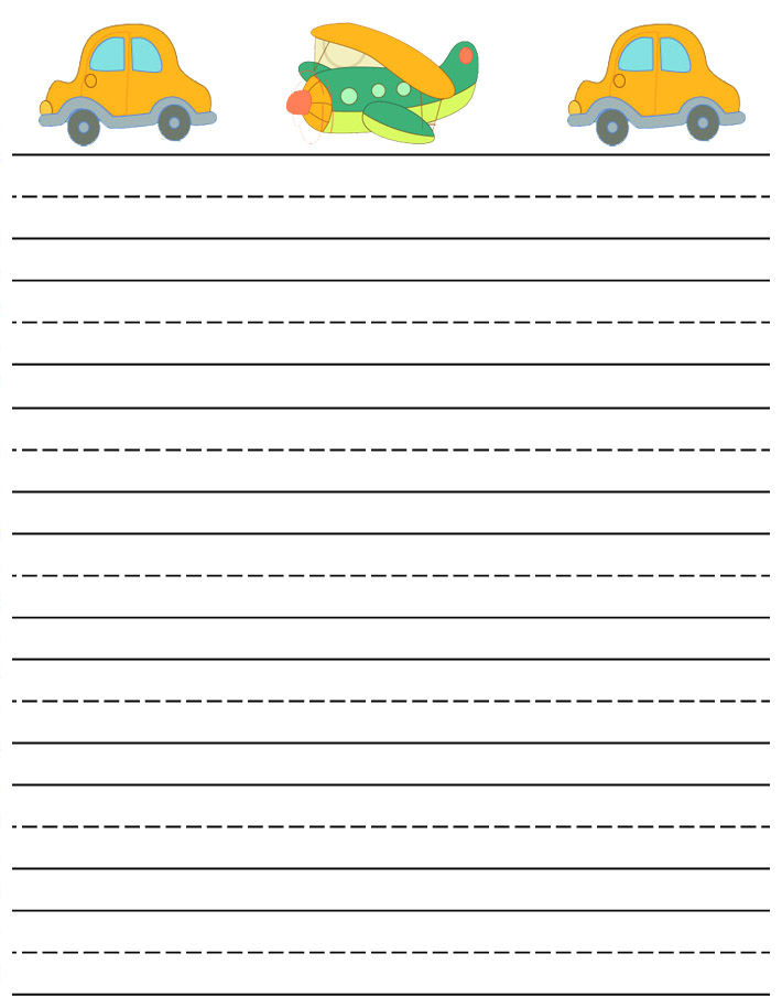 Writing Paper Printable Cars And Plane 001