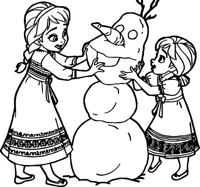 Young Anna Elsa Snow Man Coloring Page