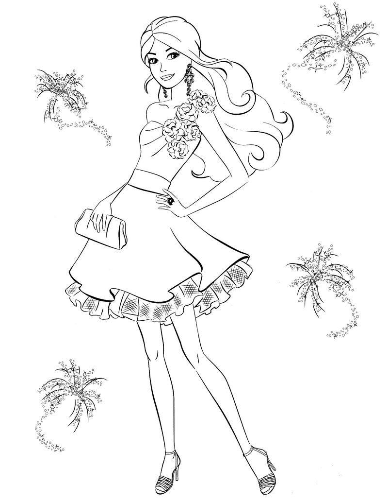 Young Barbie Princess Coloring Page
