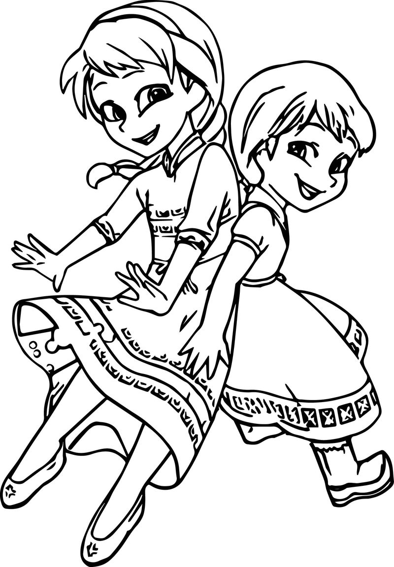 Young Elsa And Anna Printable Coloring Page