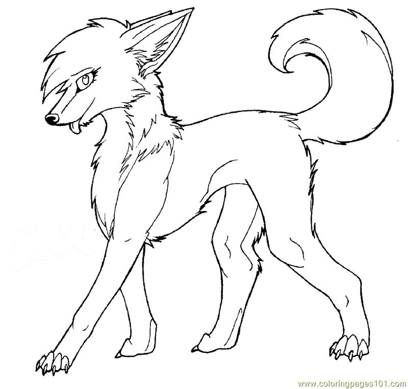 Young Wolf Coloring Page 1
