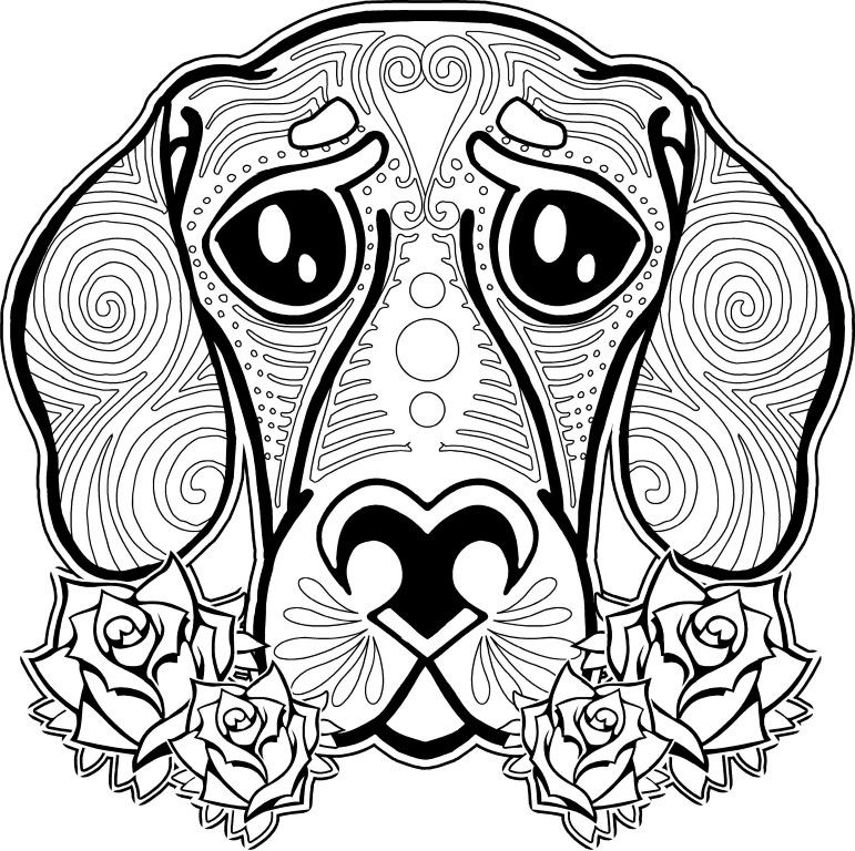 Zen Flower Dog Coloring Pages For Adults 3