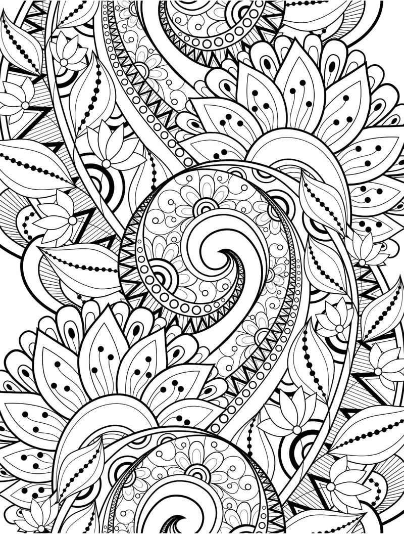 Zen Flowers With Swirl Adult Coloring