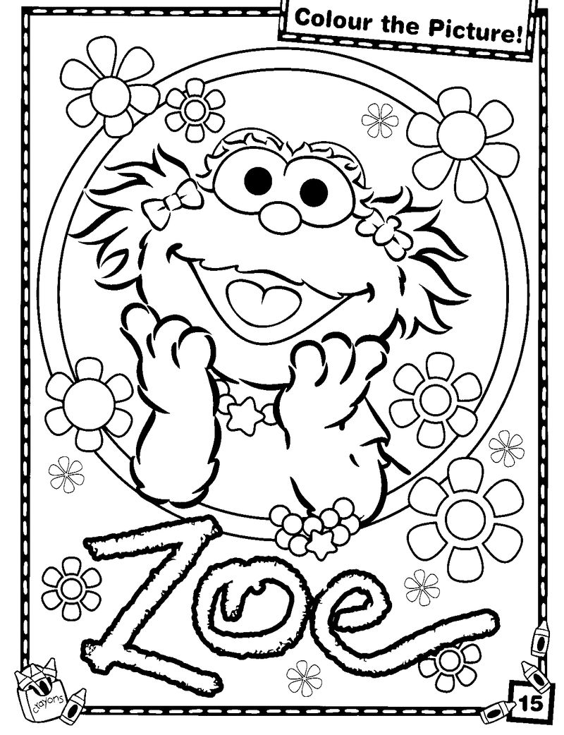 Zoe Sesame Street Coloring Pages